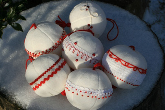 рождество, украшения, снежки
