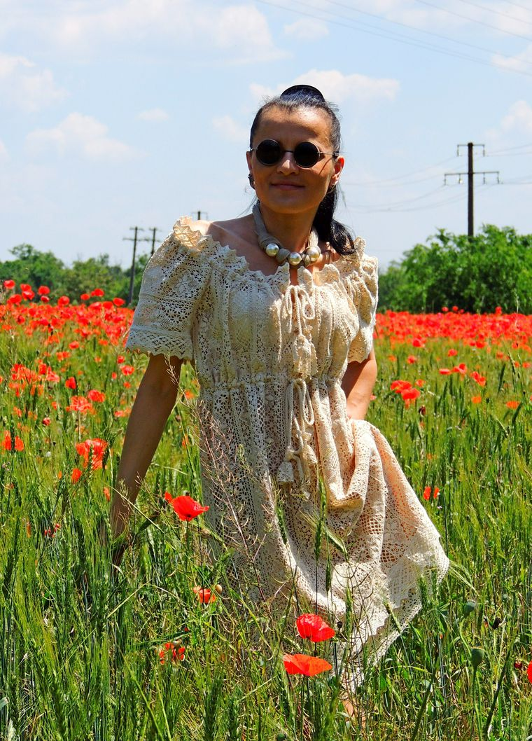 летнее бохо платье