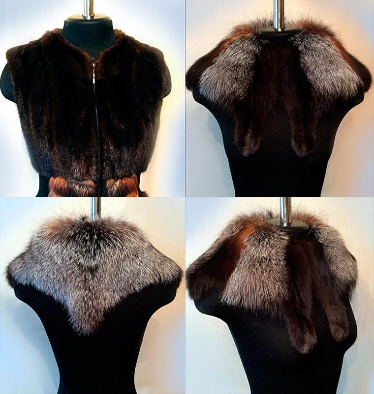 меховой жилет, авторская работа, женская верхняя одежда