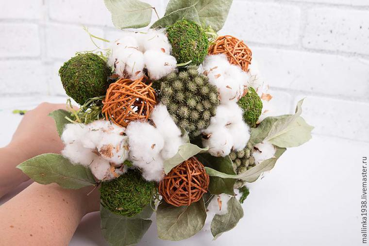Make Decorative Bouquet Of Cotton And Dried Flowers, фото № 11