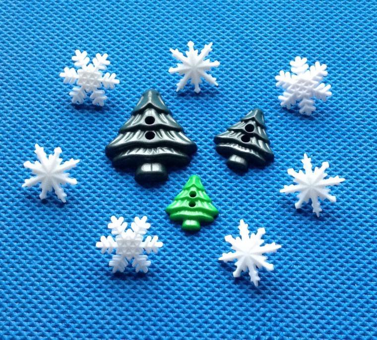 новый год, пуговицы снежинки, пуговицы елочка, подарки