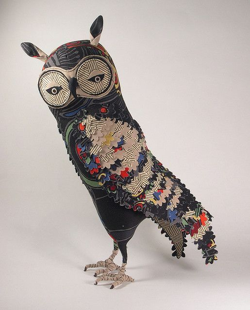 owl sculpture; is this paper mache?? I can't tell.