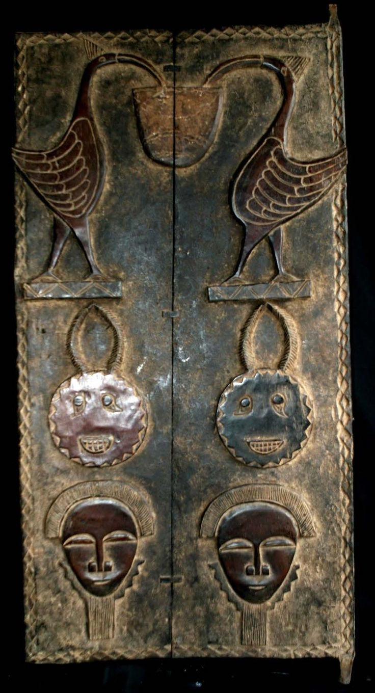 Africa | House door from the Baoule people of the Ivory Coast | Carved wood |Pinned from PinTo for iPad|