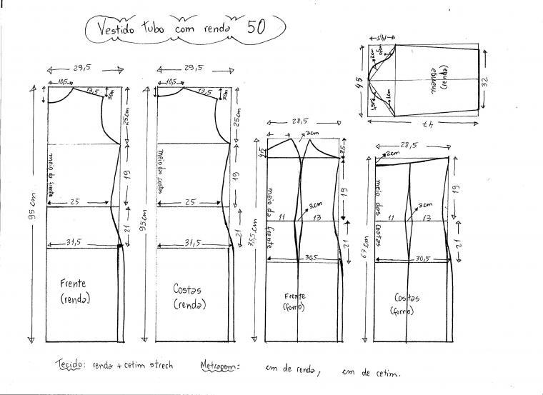 Выкройка платья из гипюра 60 размера