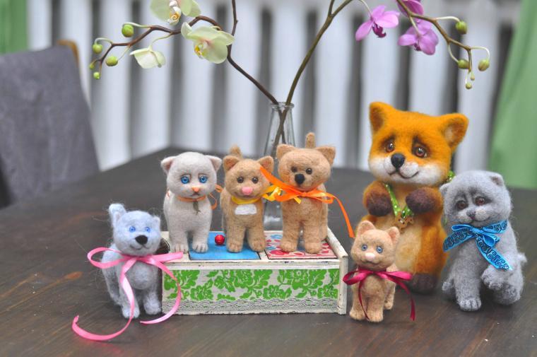 мастер-класс по валянию, валяная игрушка, котенок, обучение