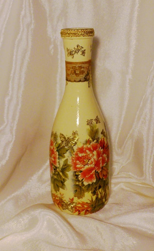 Фото декупаж бутылки мастер класс 59