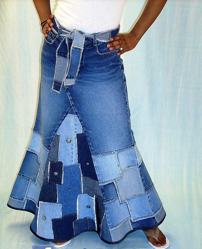 Юбка из старых джинсов своими руками