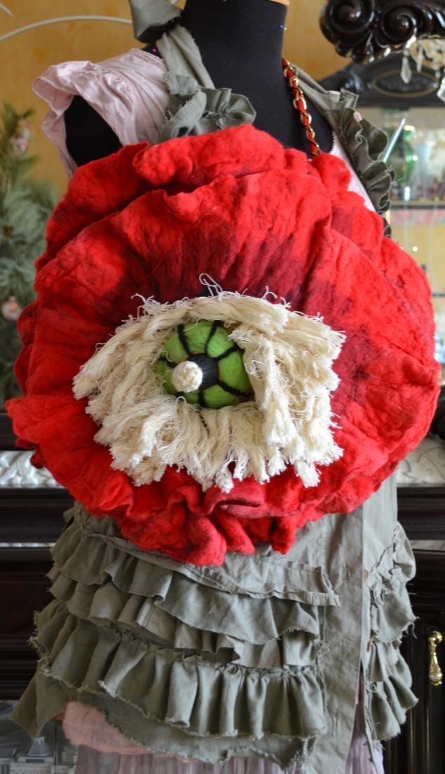 войлок, сумка-цветок, валяная сумка