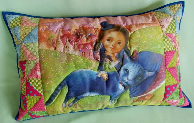 подушка диванная, декоративная подушка, пэчворк, наталья деревянко, принт
