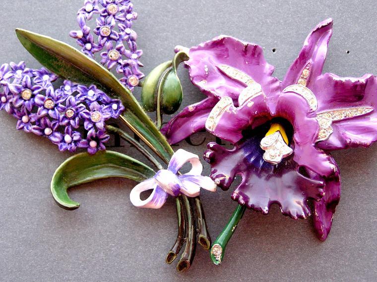 орхидея, винтажная брошь