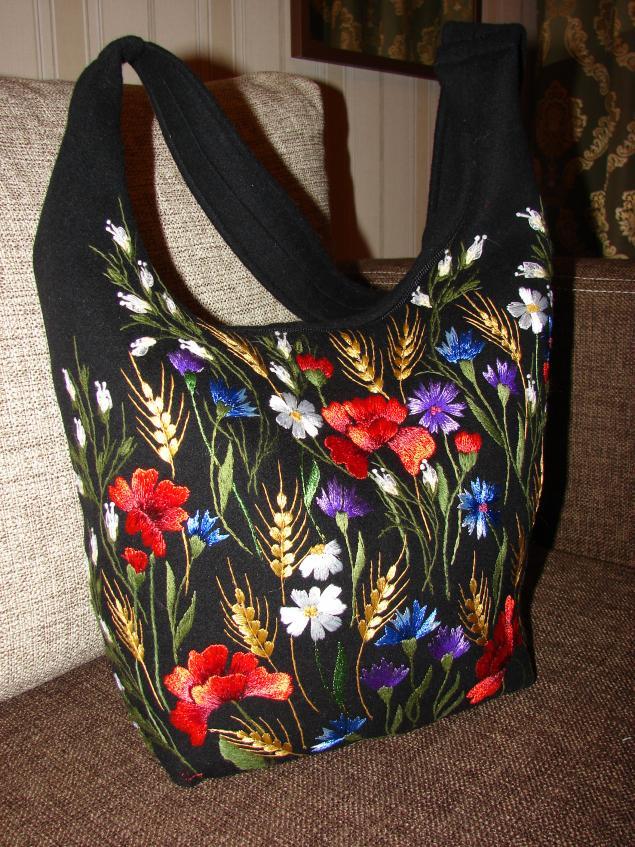 вышивка лентами, женская сумка