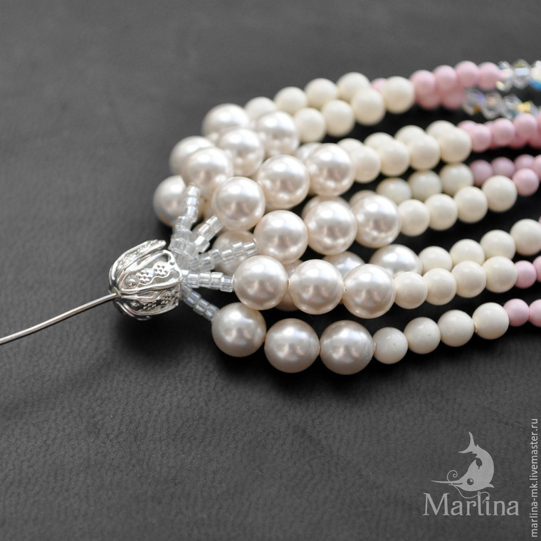 Jellyfish Pendant DIY with Pearls and Swarovski Crystals, фото № 36