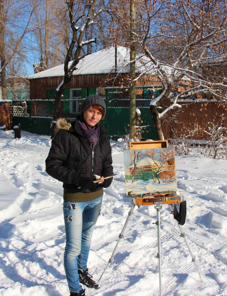 зима, новый год, этюд с натуры, живопись зимой, сугробы