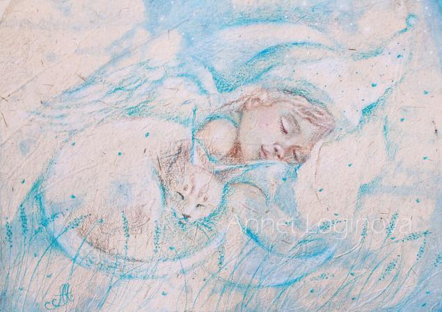 картина в детскую, сны, картины пастелью, девочка, картины с котами