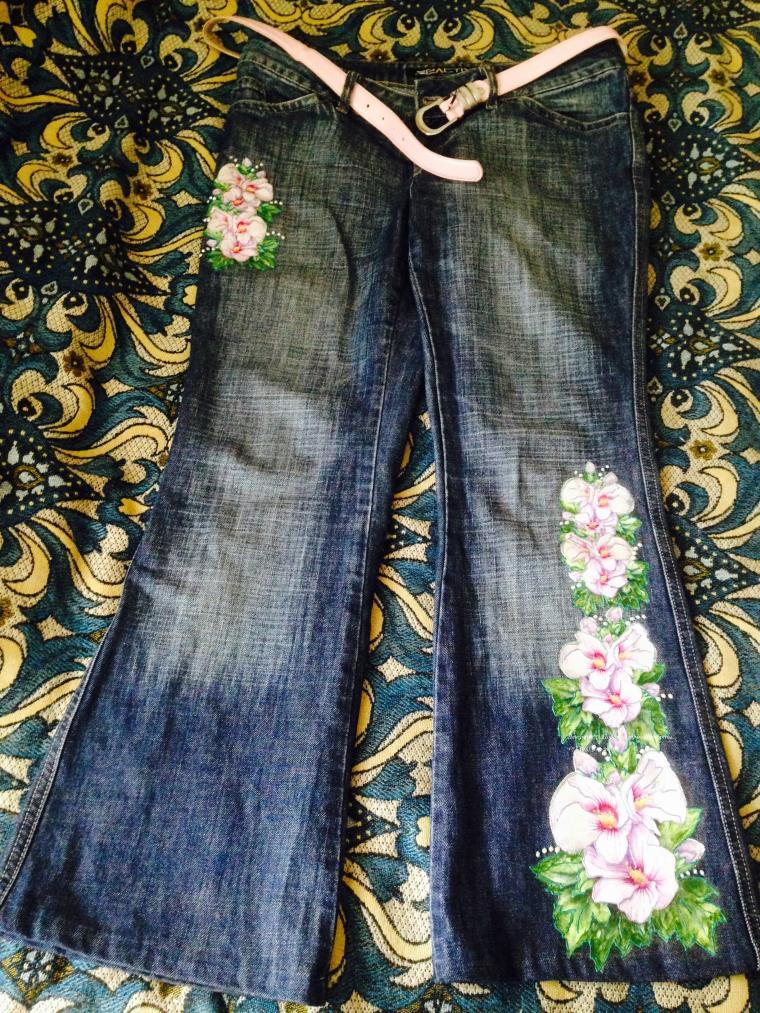 декупаж на одежде, рисунок на одежде, джинсы с рисунком, индивидуальная одежда