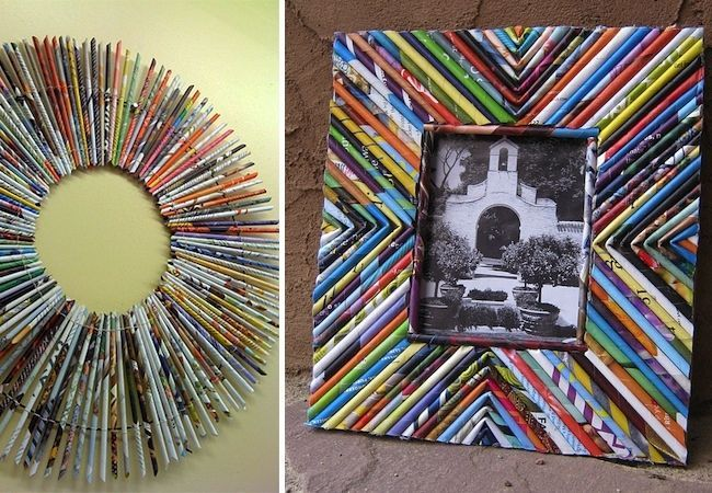 Transform a stack of old magazines into a colorful DIY picture frame