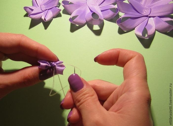 Собираем простой цветочек из ленты, фото № 16