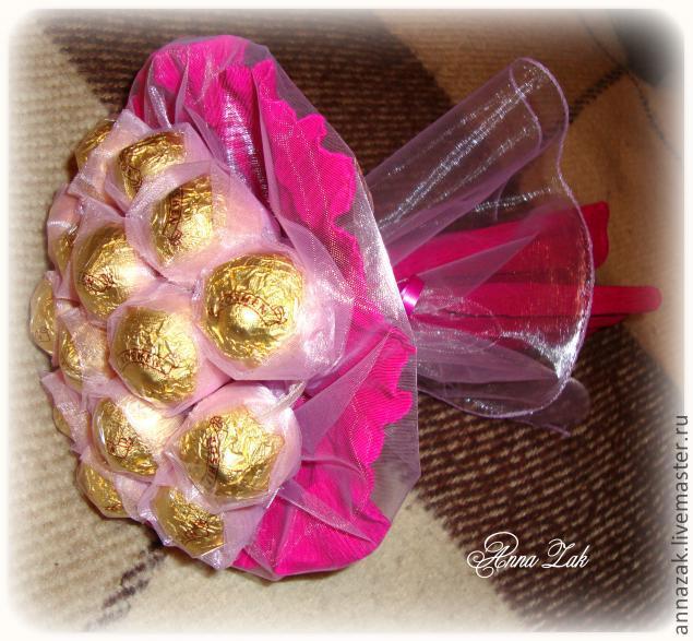 Букеты из конфет и органзы своими руками фото