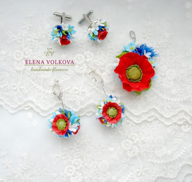 серёжки с цветами