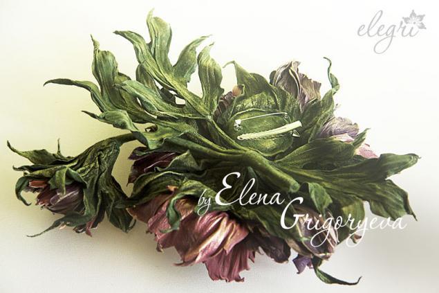цветы из кожи, бордовый пион