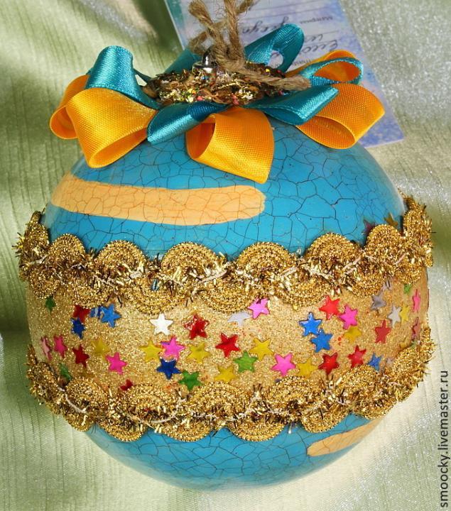 подарок на новый год 2014, елочный шар, игрушки ручной работы