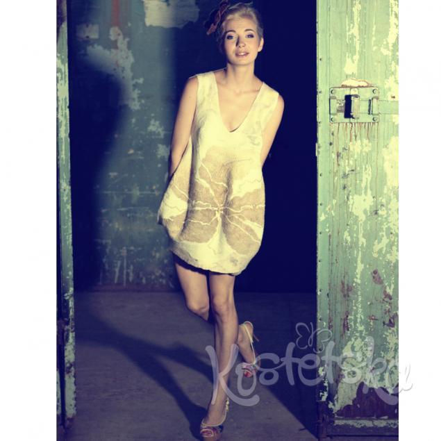 валяние платья, шерстяное платье