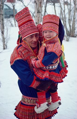Sami father and son at a wedding in traditional costume. Kautokeino, N.Norway  © Bryan & Cherry Alexander Photography / ArcticPhoto    <a href=