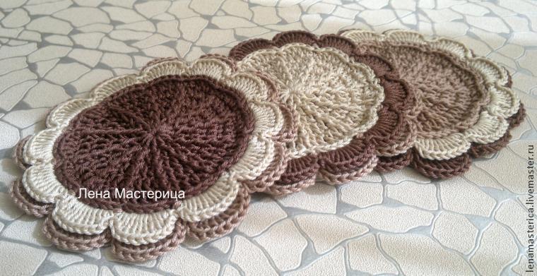 вязанная салфетка из трикотажной пряжи