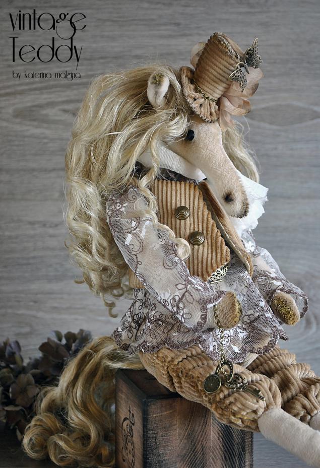 текстильная игрушка, тедди лошадка