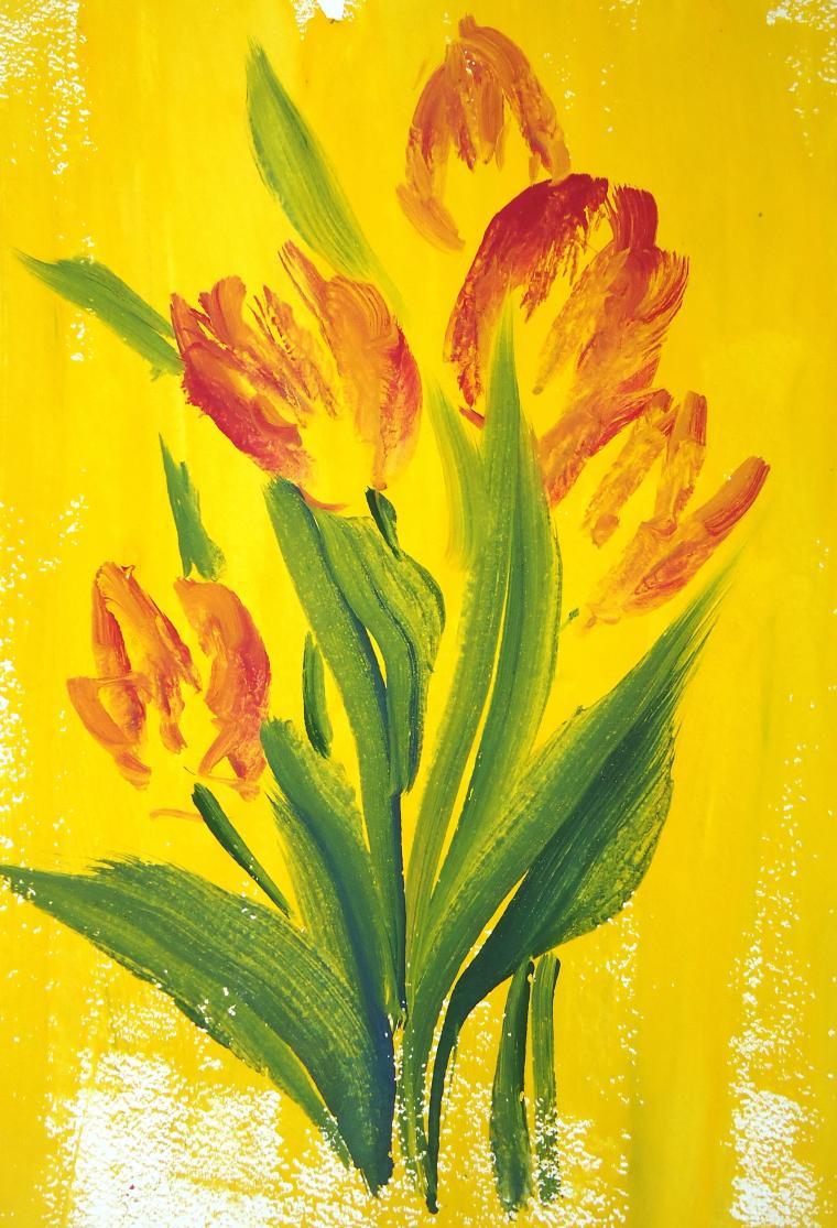 натали котова, живопись, тюльпаны
