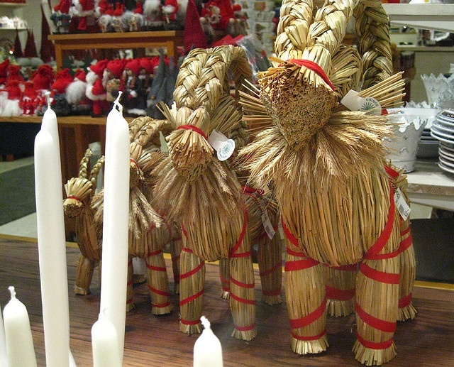 Julbocken - Gavle Goat or Yule Goat. Ikea sells these for $10. I will be getting one this year.  The Gavle Goat is a fun tradition. If you have never heard about go to google and find the Wikipedia entry about the goat.