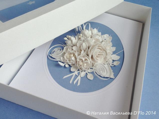 открытка ручной работы, открытка с коробочкой, белые цветы, денежный подарок, белоснежный букет, подарок на свадьбу