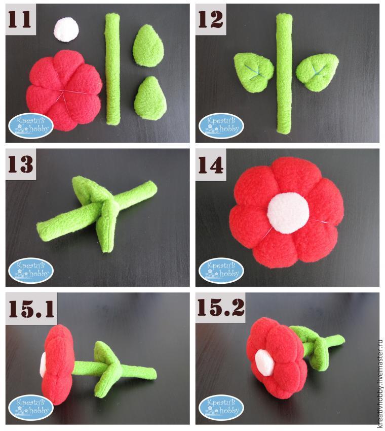 Как сшить цветок из ткани своими 19