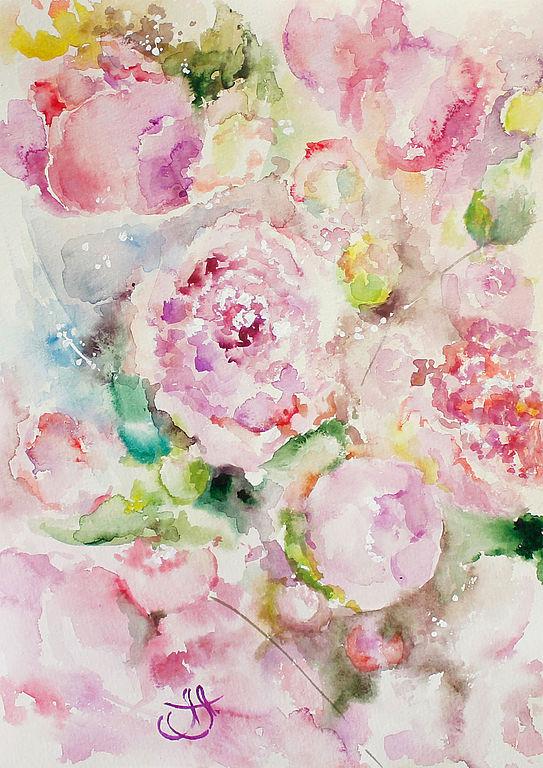 картины акварелью, картины с цветами, картины с пионами