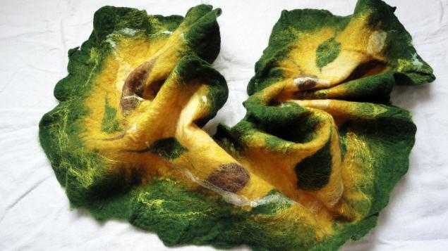 аукцион, валяный шарф, зеленый