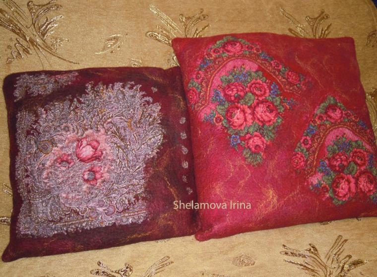 валяние, подушка, декор
