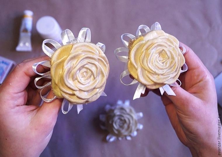 Создаем заколки с кружевом и золотыми розами из фоамирана, фото № 21