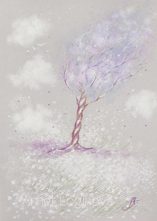 8 марта, пастельные картины, диптих, деревья пастелью