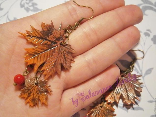 осень, серьги в подарок, серьги кленовые листья, простые серьги