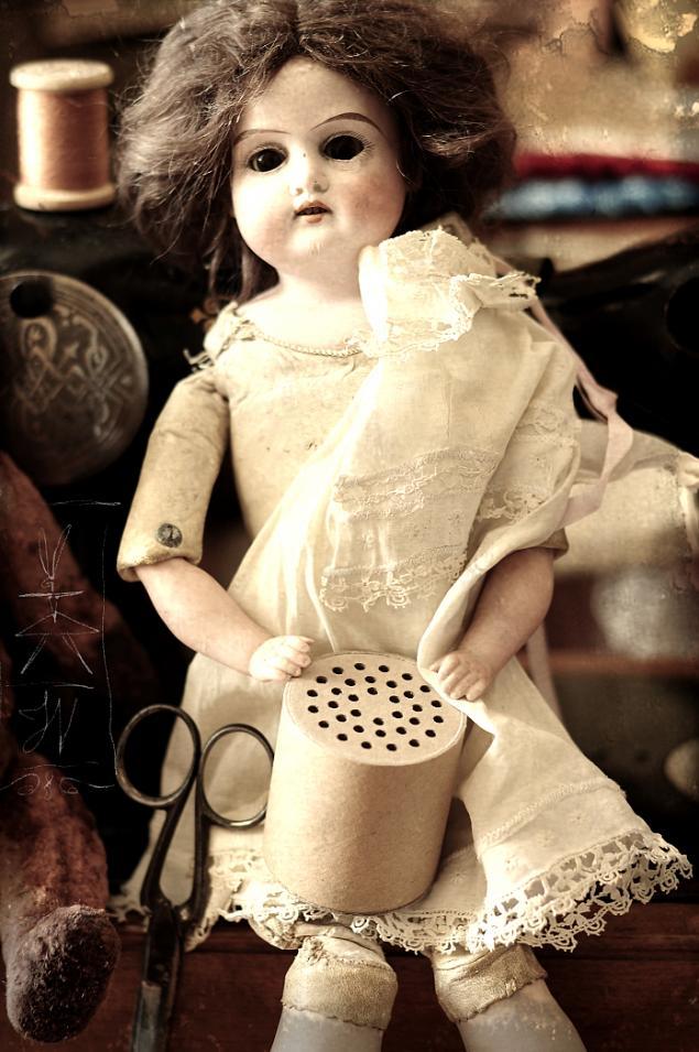 антикварная кукла, кот