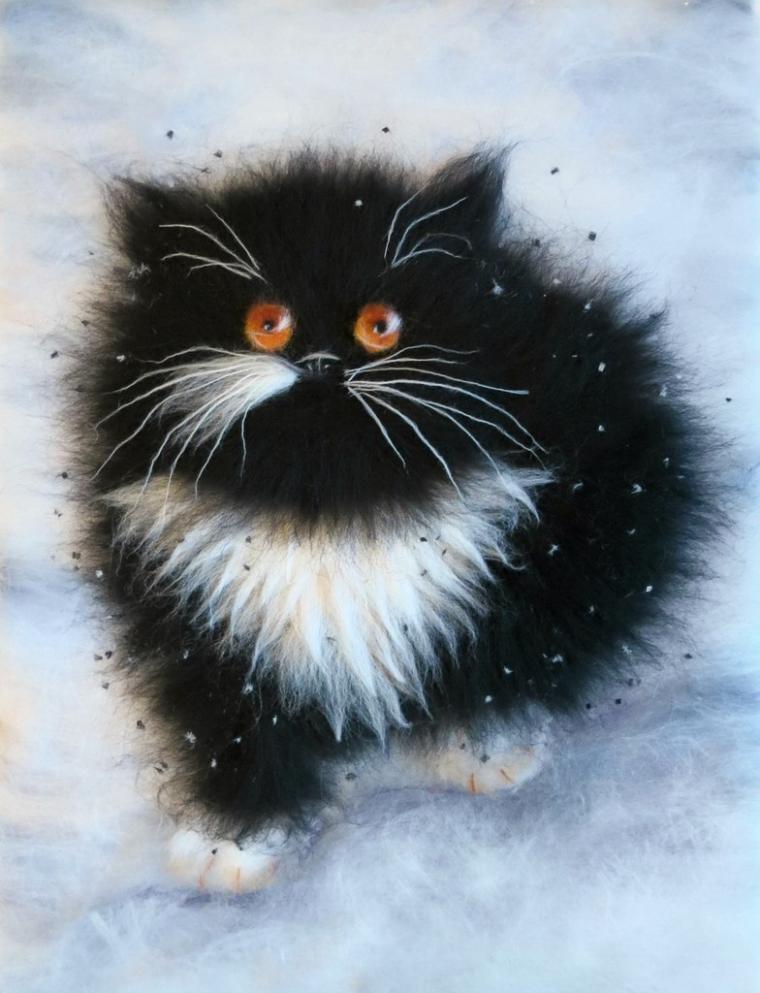 Картины из шерсти коты мастер класс видео
