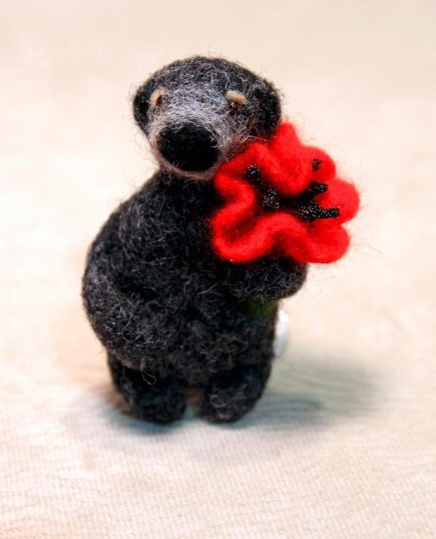 брошь ручной работы, сухое валяние, мастер-класс по валянию, медведь, мишка