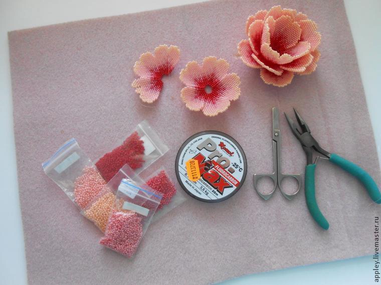 Как сделать маленький цветок из бисера 96