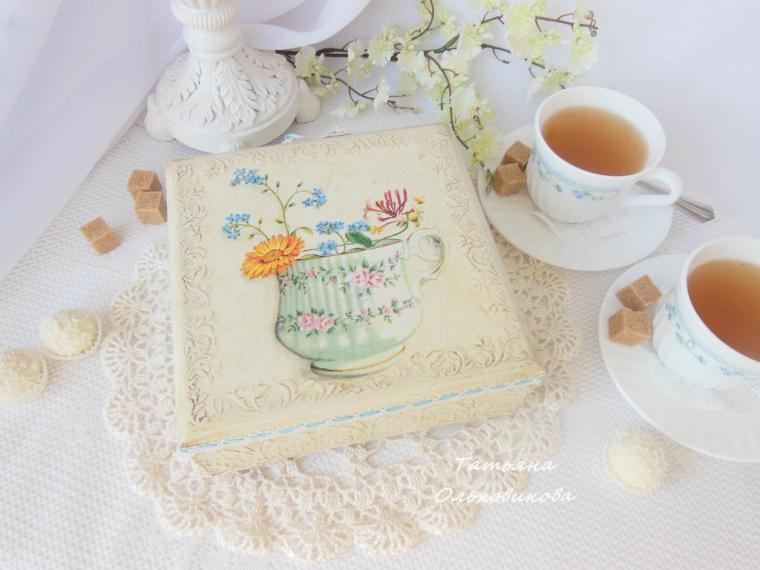шкатулка для чая декупаж