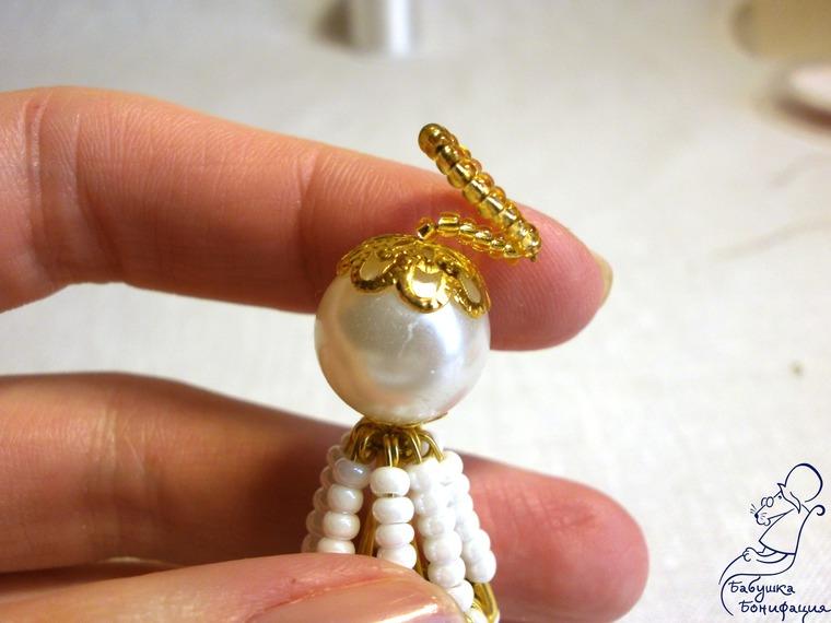 Мастерим пасхального ангела из булавок и бисера, фото № 11