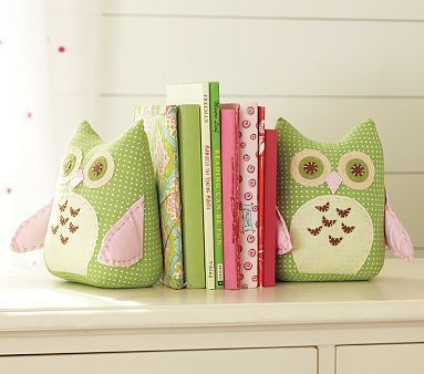It's a great idea to make some soft but heavy bookends for a kid's room.  Maria's books can always use some support.  It doesn't look like these would be too hard to make at home---just need fabric scraps and sand.