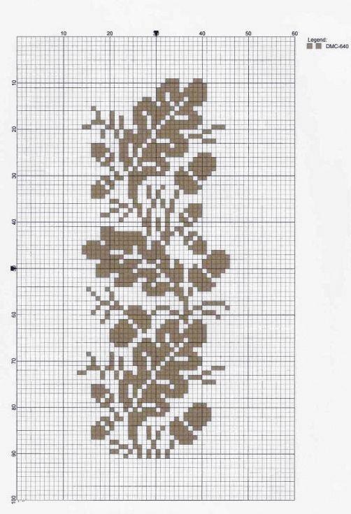 Схема вышивки дубового листа