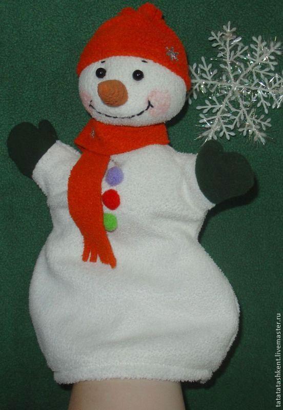 Снеговик игрушка на руку своими руками