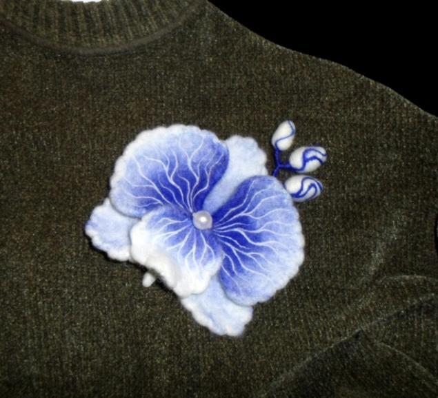 аукцион сегодня, сухое валяние, брошь-цветок, орхидея