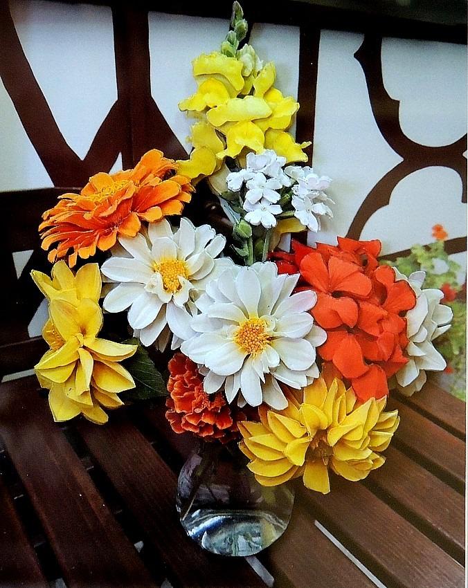 объемная картина, бумажные цветы